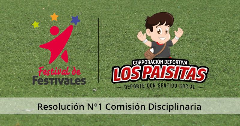 Resolución Nº1 de la Comisión Disciplinaria del Festival Babyfútbol 2019-2020