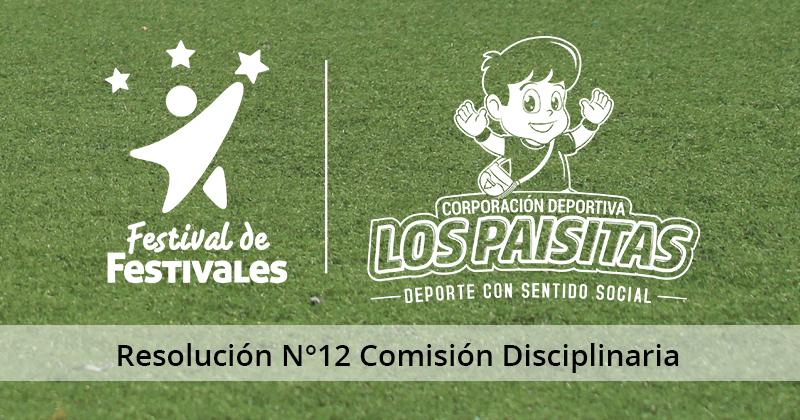 Resolución Nº12 de la Comisión Disciplinaria del Festival Babyfútbol Colanta 2018-2019