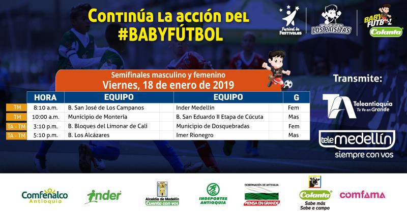 Semifinales del Baby Fútbol Colanta por Teleantioquia y Telemedellín